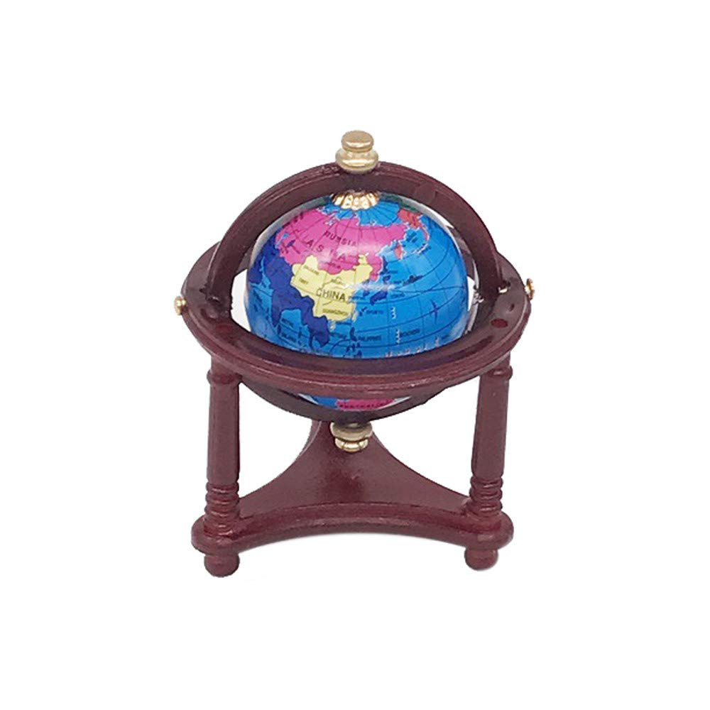 Binory Mini Wooden Globe for 1/12 Dollhouse Furniture,Fashion Modern Design Miniature Home Living Room Kids Pretend Toy,Creative Birthday Handcraft Gift Dollhouse Collection(Red)