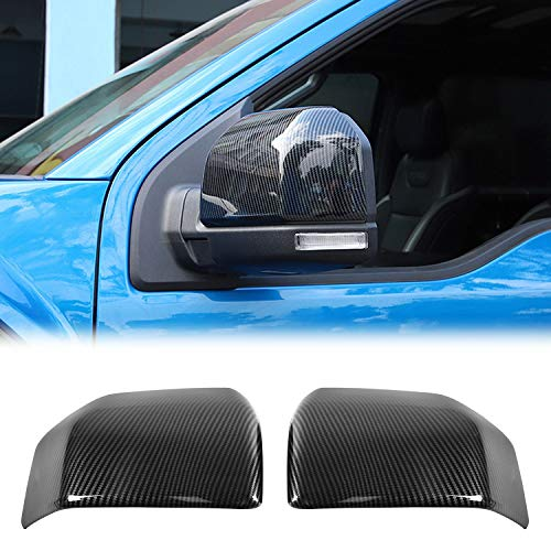Auto Rearview Mirror Cover Trim Side Mirror Cover Decoration Frame for Ford F150 2015+ (Carbon Fiber Grain)