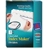 Avery Index Maker White Dividers, 3-Tab, 8.5 x 11 Inches, Clear, 25 Sets (11445)