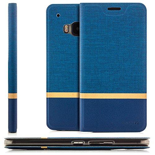 Funda HTC One M9 Case [zanasta Designs] Cubierta Carcasa Flip Cover Tapa Delantera con Billetera para Tarjetas Protectora de Alta Calidad, Cierre Abatible Gris Azul