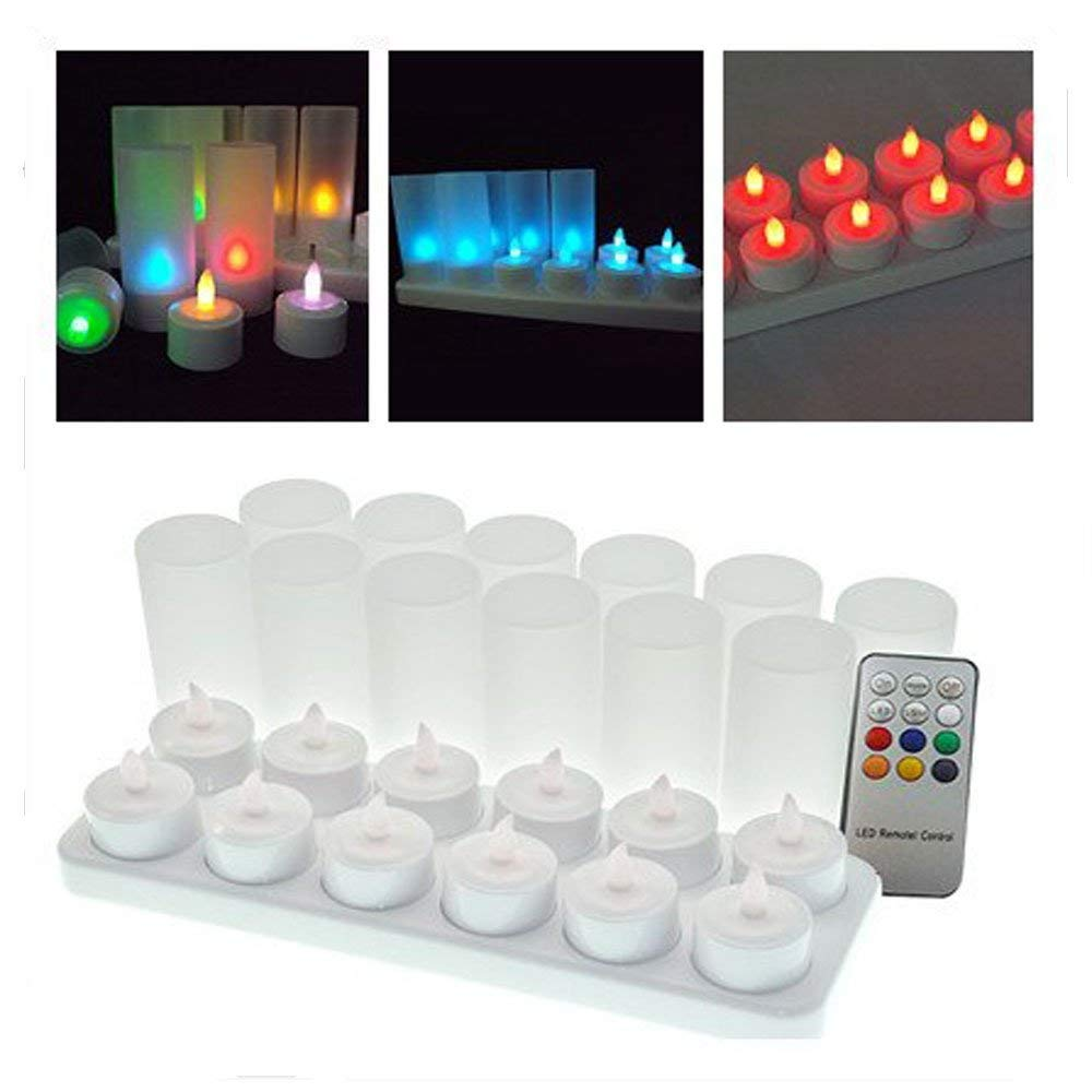 Home Set Of 12 Remote Controlled Rechargeable Tea Light Frosted Flameless Tealight Multi-color Changing Led Candle Lamp Party Wedding