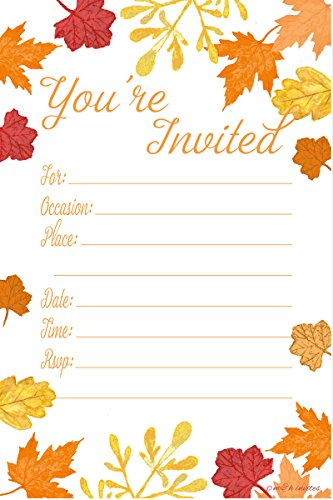 Leaves Fall Invitation Wedding (Fall Leaves Fill In Invitations - Wedding, Bridal Shower, Baby Shower, Engagement Party, Birthday - (20 Count) With Envelopes)