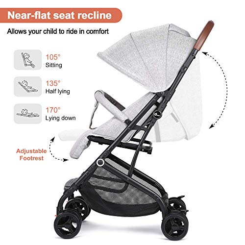 51uD7YhsAuL - Lightweight Stroller, Baby Umbrella Strollers Foldable Compact Stroller For Travel, Convenience Stroller With Oversized Canopy/Easy One-Hand Fold/Extra-Large Storage (Gray)