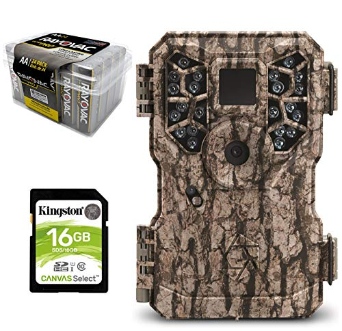 Game Camera Bundle 3 Items | StealthCam PX22 + Rayovac AA Battery 24 PK + 16 GB SD Card | 8.0 MP Pictures Video Burst Test Mode | Low Glow ()