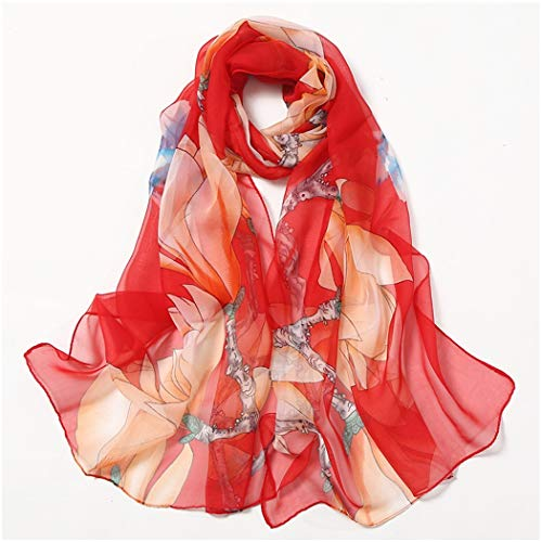 Ladies Scarf Lily Sunscreen Scarf Beach Beach Scarf Long Scarf Scarf 160cm (Color : Magnolia red, Size : 160cm) ()