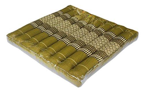 Pogsib Floor Cushions Thai Cushion Meditation Zabuton Thai Style Soft Stuffed Filled Kapok Size 20''x20''x3'' (Green) by Pogsib