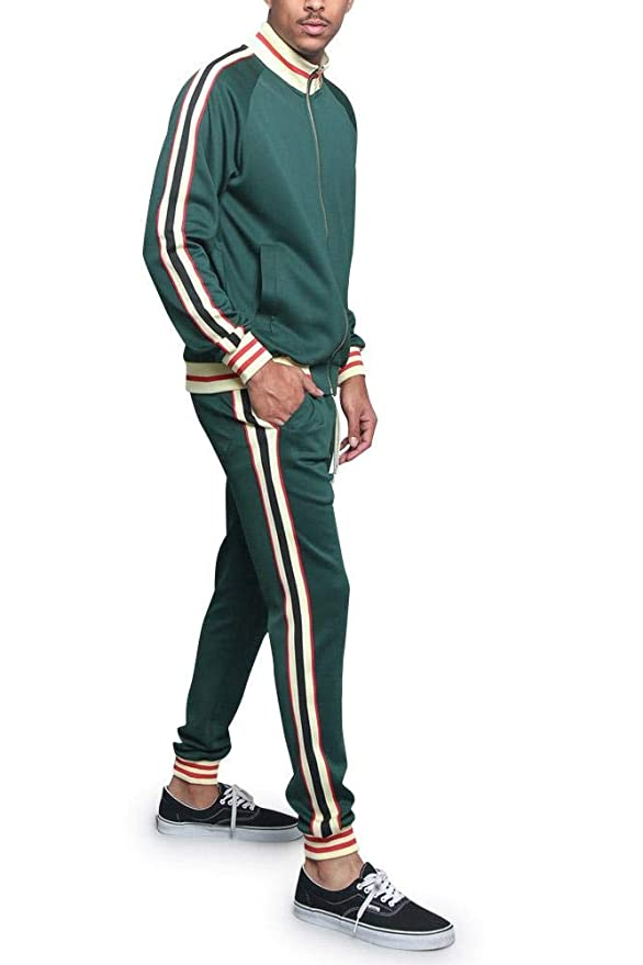 70s Workout Clothes | 80s Tracksuits, Running Shorts, Leotards G-Style USA Mens Side Stripe Zipper Jacket Drawstring Waistband Tracksuit $57.95 AT vintagedancer.com