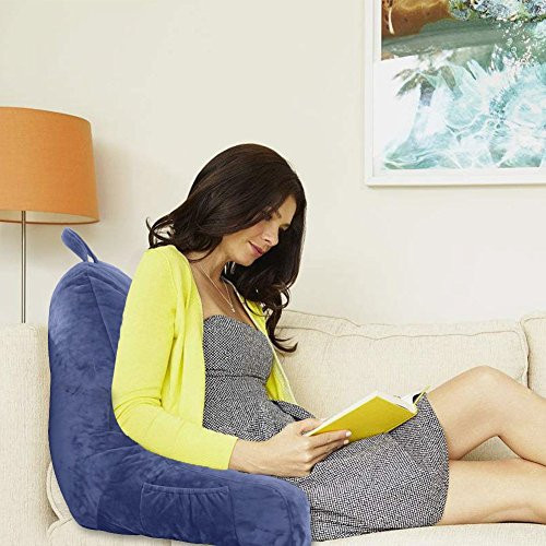 mittaGonG Backrest Reading  Arms Removable Cover Navy Blue