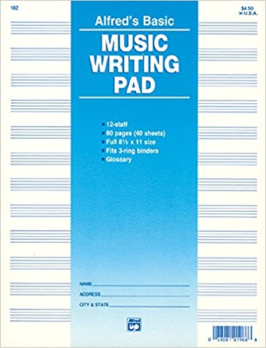 Staff Music Writing Pad Loose Pages Hole Punched For Ring