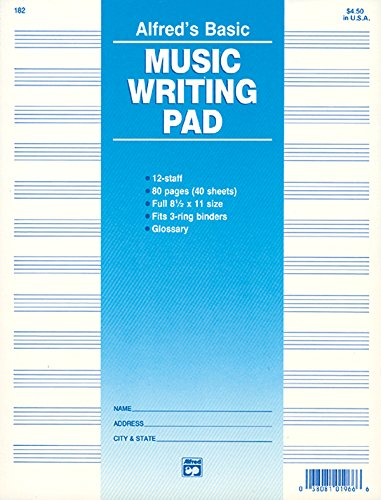 Sheet Music Staff Paper - 12 Staff Music Writing Pad (Loose Pages (3-hole punched for ring binders))