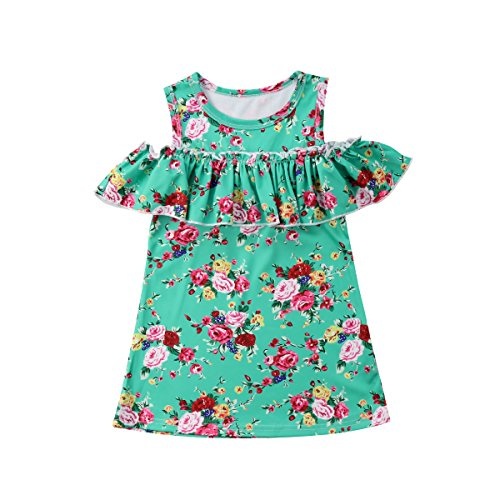 Toddler Baby Girls Playwear Dress Floral Ruffles Off-Shoulder Princess Dress One Piece (Green, 1-2 Years)