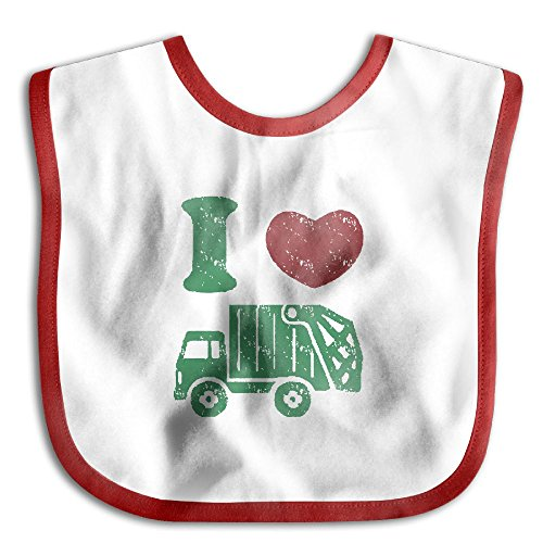 Truck Nuts Costume (Comfortable Soft Baby Girls' Boys' I Heart Love Trash Garbage Trucks Bibs - Bib Easily Wipes Clean! Red)