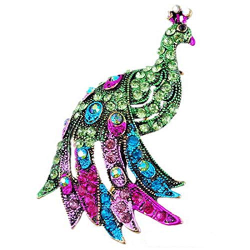AILUOR Vintage Cocky Peacock Bird Brooch Pins, Women's Elegant Charm Colorful Austrian Rhinestone Crystal Animal Breastpin for Wedding/Banquet/Bouquet (Green)