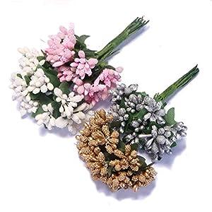 Hozhang 12PCS/Lot Mulberry Party Artificial Flower Stamen Wire Stem/Marriage Leaves Stamen Wedding Box Decoration 39