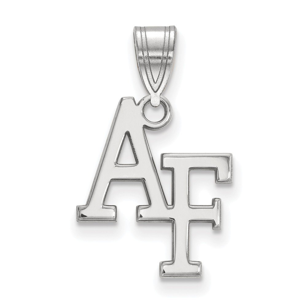 14k White Gold US Air Force Academy Falcons School Letters Logo Pendant