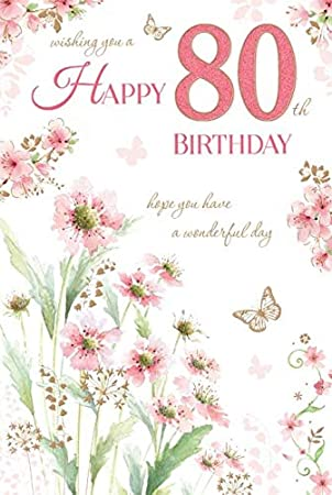 80 Birthday Wishes Happy 80th Eighty Female Lovely Lady Garden Design Greeting