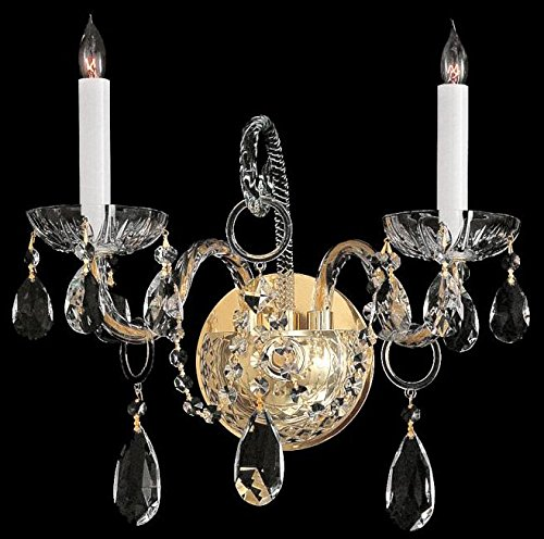 Crystorama 1122-PB-CL-MWP Crystal Two Light Wall Sconce from Traditional Crystal collection in Brass-Polished/Castfinish, 6.00 inches