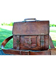 PL 16 Inch Vintage Leather Messenger Bag Briefcase / Fits upto 15.6 Inch Laptop CYBER MONDAY SALE