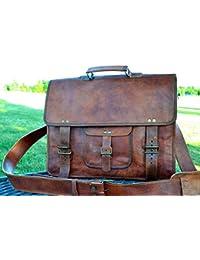 PL 16 Inch Vintage Leather Messenger Bag Briefcase / Fits upto 15.6 Inch Laptop CYBER MONDAY SALE