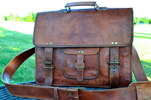 - PL 16 Inch Vintage Leather Messenger Bag Briefcase/Fits upto 15.6 Inch Laptop