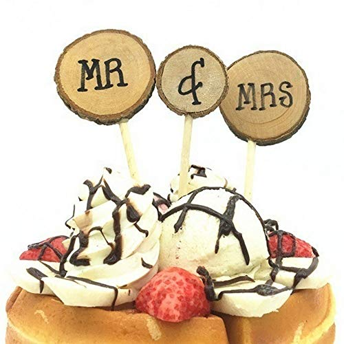 Gold Cake Topper - 3pcs Set Wood Mr Mrs Wedding Cake Per Natural Style Anniversary Party Stick Dessert Baking - Paint Russian Letters Poker Rose Edible Gear Professionals Baking Carrying ()