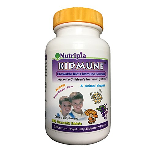 Kidmune Children Immune Booster, Chewable Immune Support Formula for Kids - Natural Raspberry Flavors 180 Chewable Tablets- Colostrum, Royal Jelly, Astragalus, Elderberry, Bee Propolis, Beta - Bee Propolis Chewable
