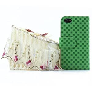 Green Checker Faux Synthetic Leather Magnetic Case+Credit Card slots iPhone 5 5S