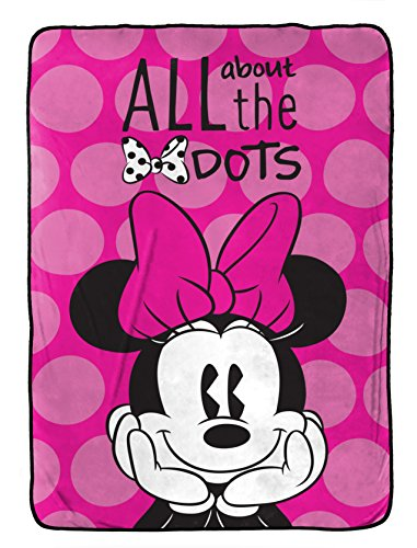 "Disney Minnie Mouse All About The Dots Flannel/Silk Touch 62"" x 90"" Twin Blanket ()"