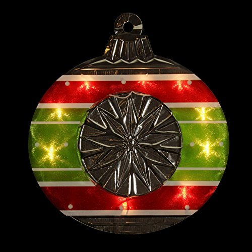 Impact 15.5'' Lighted Shimmering Red, Green, White & Silver Ornament Christmas Window Silhouette Decoration
