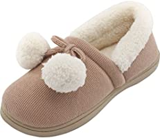 HomeTop Women's Cozy Cute Fuzzy Knit Cotton Memory Foam House Shoes Slippers For Girls & Teens with Pom Pom Decor Indoor Outdoor