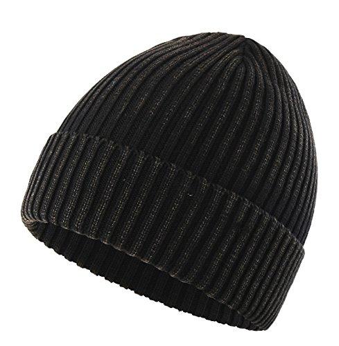 Connectyle Girls Womens Daily Cotton Rib Knit Cuff Beanie Hat Classic Plain Winter Watch Hat Black