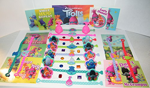 Favor Deluxe - Trolls Movie Deluxe Party Favors Goody Bag Fillers Set of 48 with Bracelets, ToyRings, Sticker Sheets and Troll