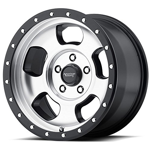American Racing AR969 Ansen Off Road Wheel with Machined Finish and Satin Black Ring (15x8