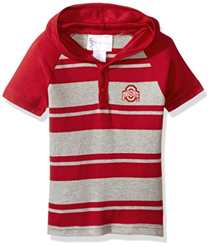 Two Feet Ahead NCAA Ohio State Buckeyes Toddler Boys Rugby Short Sleeve Hooded Shirt, Size 3, Red/Heather
