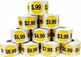 Price Point Stickers Retail Bulk Pack - $.99 Through $9.99 - 1.5'' Round Labels - 500 Stickers Per Price/Roll - 5,000 Total Labels - Yellow With Black Prices