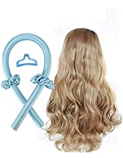 Rodillo de pelo sin calor,Cinta de pelo sin calor, rizadores de pelo en espiral, sin ondas de calor, kit de peinado,rizador para la mayoría de los peinados,rizador para cabello suave y brillante (Azul)