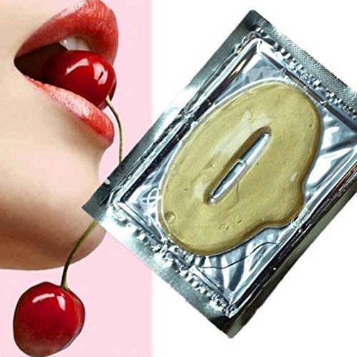 VWH 10PCS Lip Mask Pads Gold Crystal Collagen Pump Lip Plumper Powerful Moisturizing Yingwei