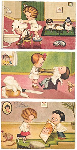 Three Boriss Artwork Postcards Children Playing Beauty Parlor Barber~98500