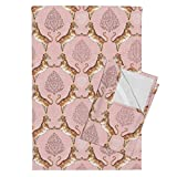 Tiger India Sari Wild Animal Jungle Water Color Damask Tea Towels Big Cat Damask (in Rose by Nouveau Bohemian Set of 2 Linen Cotton Tea Towels