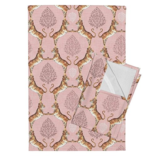 Tiger India Sari Wild Animal Jungle Water Color Damask Tea Towels Big Cat Damask (in Rose by Nouveau Bohemian Set of 2 Linen Cotton Tea Towels by Roostery