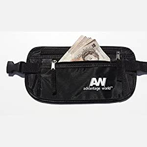 Advantage World Undercover Money Belt in Black.protect Yourself with Rfid From Travel Theft, Comfortable Durable & Secure.