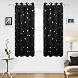 Deconovo Solid Thermal Insulated Blackout Curtains for Boys' Bedroom with Silver Star Pattern 52 By 63 Inch Black 1 Pair