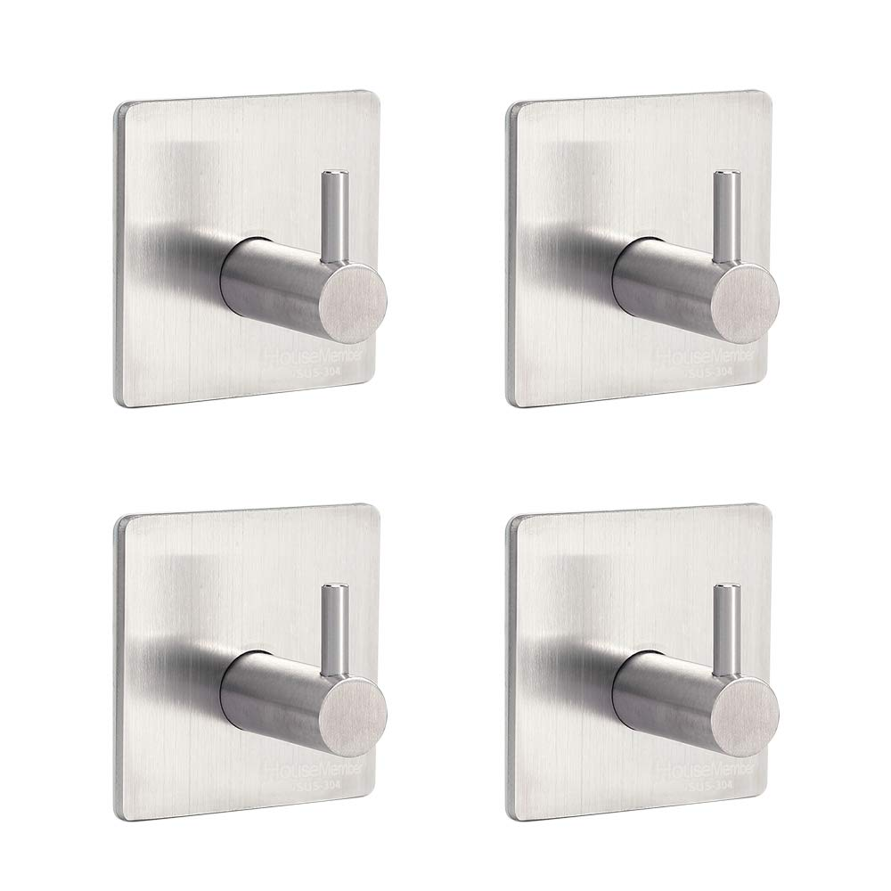 Wall Mounted Adhesive Coat Rack Hat Rack 304 Stainless Steel Heavy Duty Contemporary Hotel Style Towels Holders for Laundry Room Entryway Foyer Hallway Bathroom Bedroom Kitchen (Set of 4)