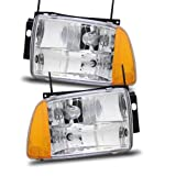 95 blazer headlight assembly - SPPC Crystal Headlights Amber Reflector Assembly Set For Chevrolet Blazer - (Pair) Driver Left and Passenger Right Side Replacement Headlamp
