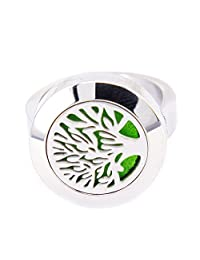 Mesinya Tree of Life Aromatherapy Ring/ 316L s.steel Essential Oils Diffuser Locket Ring
