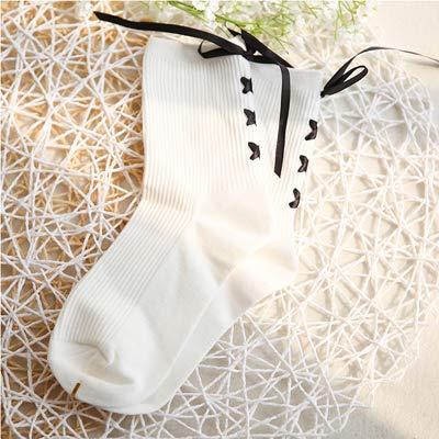 KWXHG Japonés Suave Hermana Viento talón Corbata Arco Retro Lindos Calcetines de algodón Hembra Salvaje Tubo