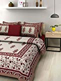 Jaipuri Print Rajasthani Tradition 210 TC Cotton Double Bedsheet with 2 Pillow Covers - Beige