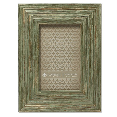 Weathered Green Picture Frame - Lawrence Frames Deep Grain Weathered Decorative Picture Frame, 4 x 6