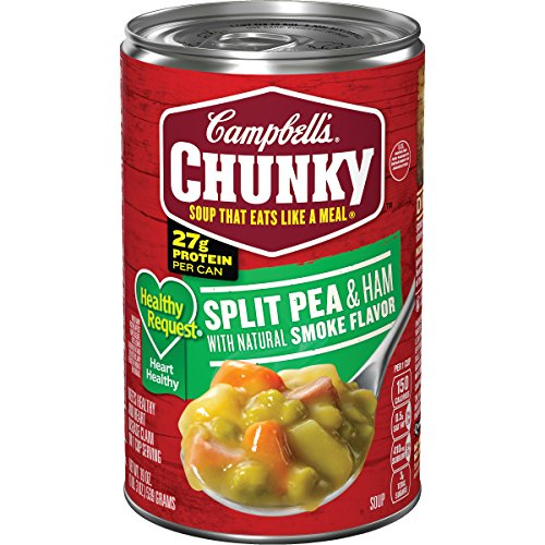 Campbell's Chunky Healthy Request Split Pea & Ham with Natural Smoke Flavor Soup, 19 oz. Can (Pack of 12) ()