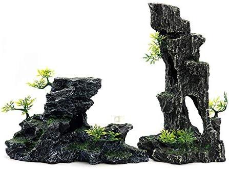 魚の水槽の装飾人工水生植物クォーラムマウンテンビューの装飾水族館積み上げ石ロックの装飾山淡水塩水水族館タンクの装飾(色:C1、サイズ:A